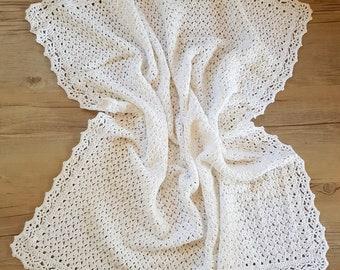 Crocheted Baptism Blanket, christening blanket, nursery blanket, baby shower gift, crochet afghan, baby afghan, heirloom blanket