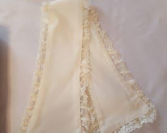 Vintage Lace Edge Satin Collar Reuse Repurpose Sewing