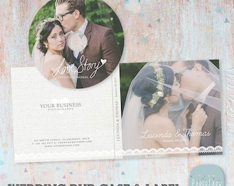 Wedding DVD/Cd Case and Label - Photoshop Template -DW004- INSTANT Download