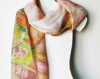 Silk scarf, hand painted scarf, woman silk scarf, Mothers day gift