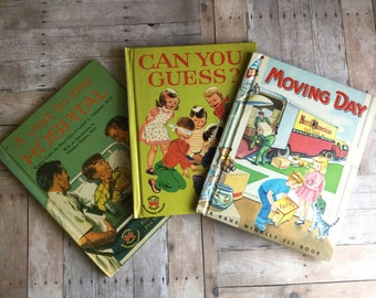 Trio of Vintage Children's Books - Can You Guess - Moving Day - A Visit To The Hospital