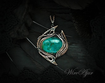 Wire wrapped pendant gift for girlfriend copper chrysocolla necklace wire wrap anniversary gift for women turquoise chrysocolla pendant
