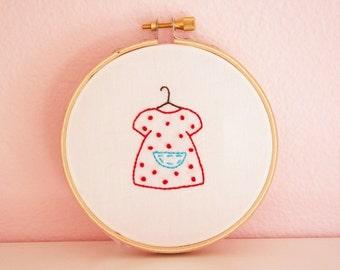 Polka Dot Dress Embriodery PATTERN