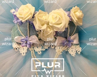 PLURWIZARD Blue rose flower suit edm rave bra,tutu,rave outfit,ultra edc outfit,rave wear,costume, burning man outfit