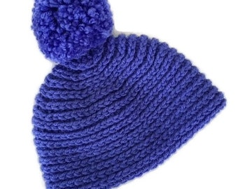 Baby crochet hat, baby winter hat, pom pom hat, purple newborn hat, purple pom pom hat, hand crocheted hat, baby photo prop, baby fall hat