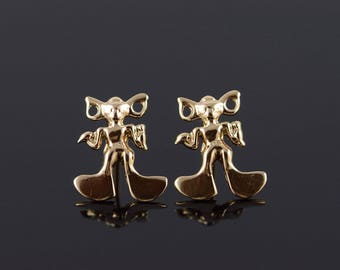 14k Cartoon Alien Mouse Person Stud Earrings Gold