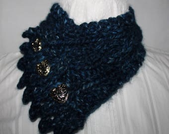 Fishermans Wife Cowl, Neck Warmer, Knitted Cowl, Cable Knit Scarf, Color Blue, Color Name is River Run, Fits most Women and Teens