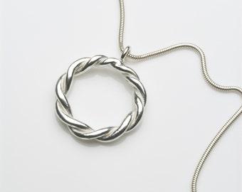Twisted silver pendant, circle pendant, silver pendant