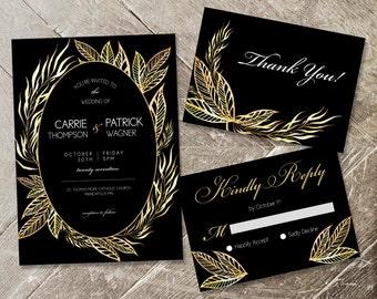 Gold Leaf Floral Wedding Invitation Set Wedding Invite Template Printable Wedding Invite Set Modern Wedding Invite Black & Gold Wedding RSVP