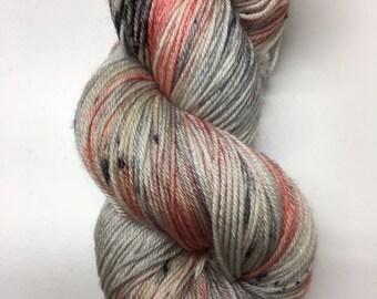Hand dyed yarn. sw merino/ nylon. 75/25% . 4 ply. Speckle. Elara