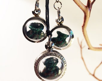Horsehair Locket, Horsehair Jewelry, Necklace and Dangle Earrings, Tiny Baskets, Bubble, Green Blue Pink and Brown