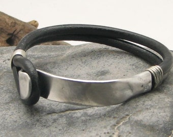 Gift For Men, Black leather cord multi strand men's  bracelet with hammered metal work clasp, Gift for husband