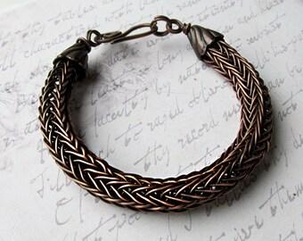 Viking knitted bracelets Woven chain bracelet Braided copper bracelet, Copper viking knitted One of a kind Handmade bracelets Mens bracelet