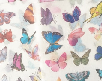 Set of 6 Washi Paper ButterfliesStickers for Scrapbooking and Planners