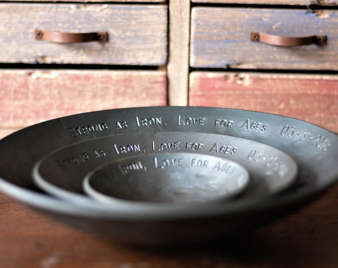 11th Anniversary gift set of three steel bowls anniversary gift for couples steel anniversary gift for him personalized steel gift for him