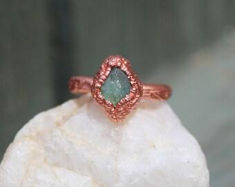 Blue Tourmaline Ring, Blue Gemstone Ring, Tourmaline Copper Electroformed Ring