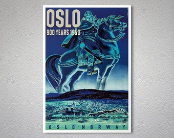 Oslo - Norway Travel Poster - Poster Print, Sticker or Canvas Print / Gift Idea
