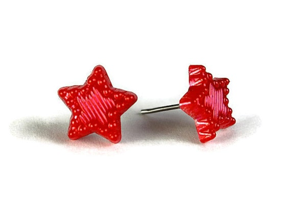 Red ruby pearlized star surgical steel hypoallergenic stud earrings (305)