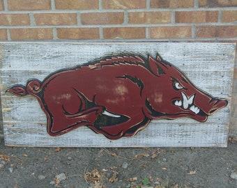 3D Arkansas Razorbacks Logo, Wall Hanging, Reclaimed Wood