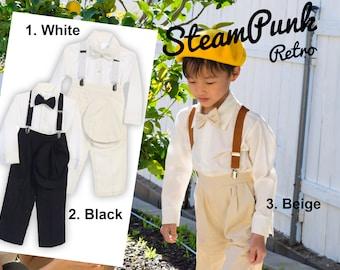 Baby Toddlers Boys Retro 5-piece Linen Suit, pants bowtie shirt hat suspender, white black beige, wedding ring bearer birthday party baptism