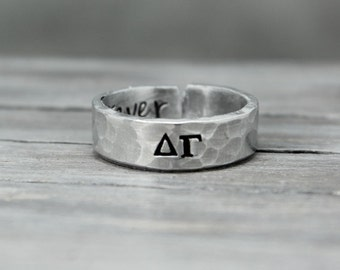 Delta Gamma Ring, Hammered Sorority Ring, personalized jewelry, hand stamped ring, handstamped jewelry, Sorority Jewelry