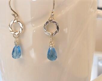 Swiss Blue Topaz Earrings, Topaz Earrings, December Birthstone, Blue Topaz, Bridal Earrings, Something Blue For The Bride,