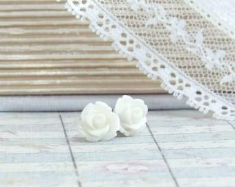 Off White Rose Studs Rose Stud Earrings Cream Rose Earrings Surgical Steel Off White Earrings