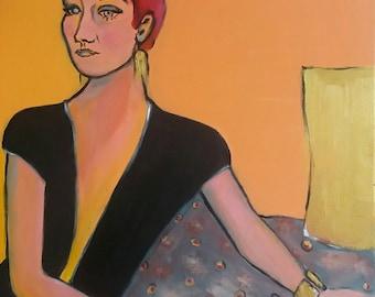 Woman figure,  Figurative painting, Modern Art, Figure painting, Female portrait, Woman in black