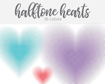 Halftone Hearts Clip Art Love Clipart Valentines Day - Digital Download