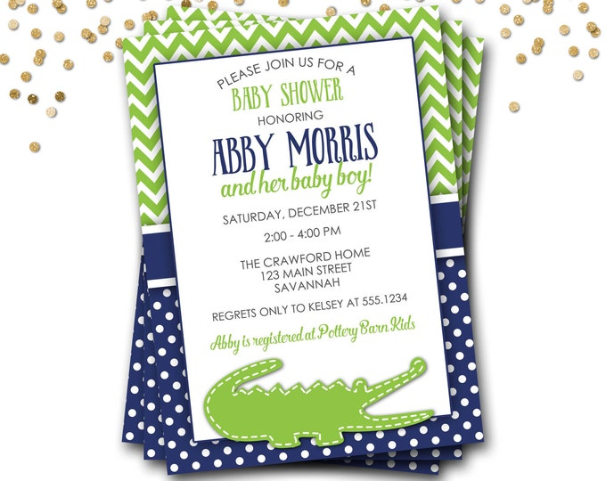 Alligator Baby Shower Invitation, Alligator Invitation, Preppy Baby Shower Invitation, Alligator Shower, Boy Baby Shower, DIY Printable