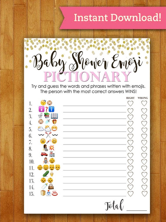 Baby Shower Game Pictionary EMOJI Pictionary Coral/PINK