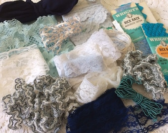 Vtg Trims Blue Silver white Lace Lot Hats Doll Sewing Blythe Bridal 40s 50s 60's A44