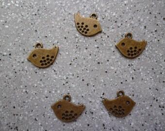 5 charms birds in metal bronze 8 x 16 mm
