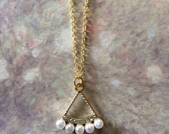 Gold Rhinestone - Gold Rhinestone Necklace - Gold Pearl Necklace - Gold Pearl Jewelry - Rhinestone Pearl - Rhinestone Pearl Necklace - Pearl