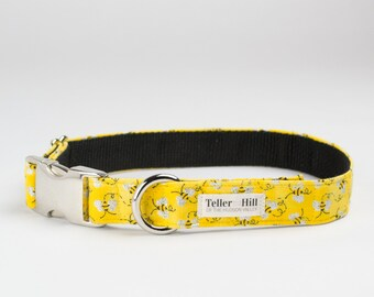 Metallic Yellow Bee Perfect proposal Dog Collar - Be Mine Dog Collar - Metallic dog collar - Marriage Proposal Dog Collar - wedding collar