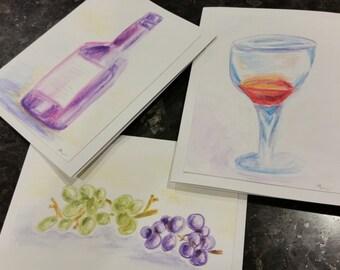 Wine notecards - 4x6, set of three