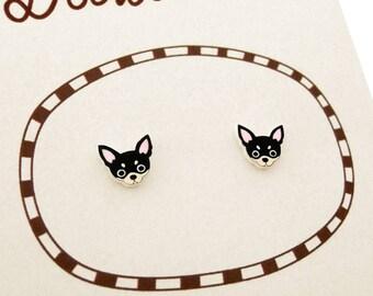 Black Tan Chihuahua Earrings, Chihuahua Jewelry, Tiny Earrings, Chihuahua Jewellery, Dog Earrings, Dog Jewellery,  Shrink Plastic