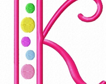 Outline Dots Machine Embroidery Monogram Font Set 3inch