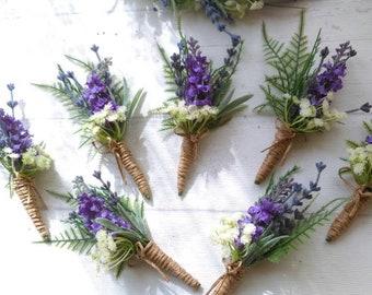Silk rustic style wedding buttonholes Lavender Gypsophila ferns. Grooms boutonniere country wedding