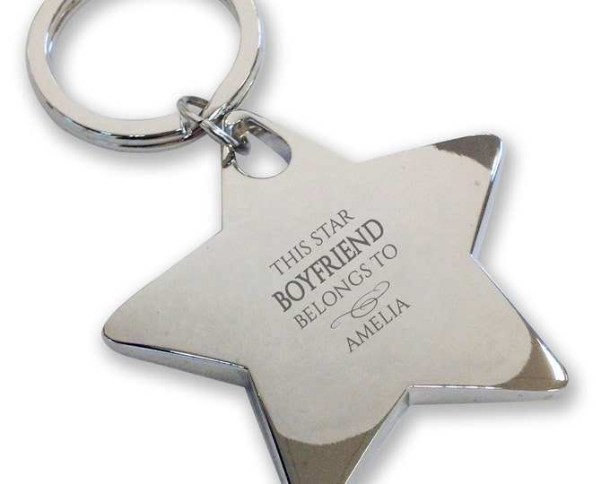 Personalised engraved This star BOYFRIEND belongs to keyring gift, deluxe chunky star keyring - BE9
