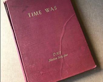 Vintage High School Yearbook . 1944 . Danbury CT . School Annual . Memorabilia . Collectible Vintage Book . Nostalgic Book