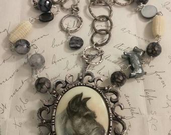 SASSY SCHNAUZER vintage assemblage necklace