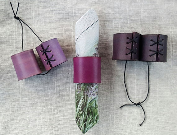 Purple Leather Napkin Rings Orange, Blue, Tan, etc  ~ Casual Dining ~ Alfresco ~ Housewarming~Hostess Gift ~ Home Decor ~ Kitchen Accessory