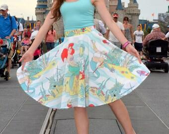 Ariel circle skirt. The little mermaid circle skirt. Ariel disneybound. Ariel skirt. Mermaid skirt. Adult skirt. Womens skirt. Twirl skirt