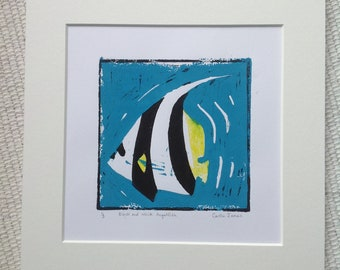 Black and white Angel fish Lino print.