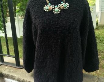 Boxy black wool blend sweater