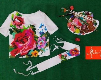 Colorful Hand painted Blouse by Irina MADAN / 100% Handmade