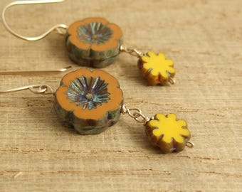 Earrings with Orange, Czech Glass Flower Beads and Yellow, Czech Glass Flower Beads Wire Wrapped with Gold Filled Wire GHE-27