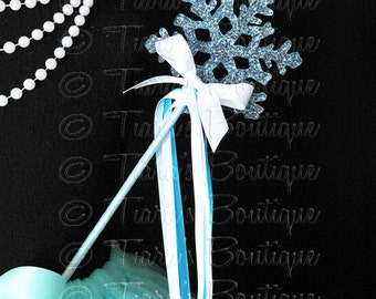 Blue and White Snowflake Wand, Christmas Wand