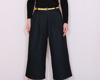 Black denim culottes jeans High waist Wide leg pants Shorts with pockets Custom made trousers